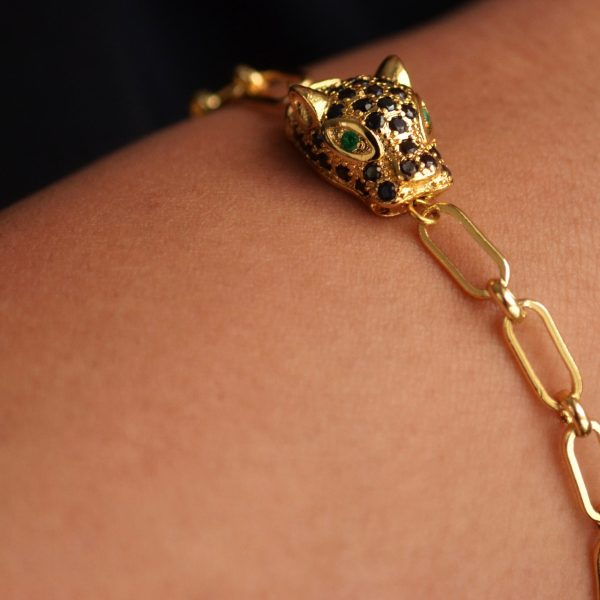 Aria Bracelet: 14K Gold Plated Chain with Pavé Leopard