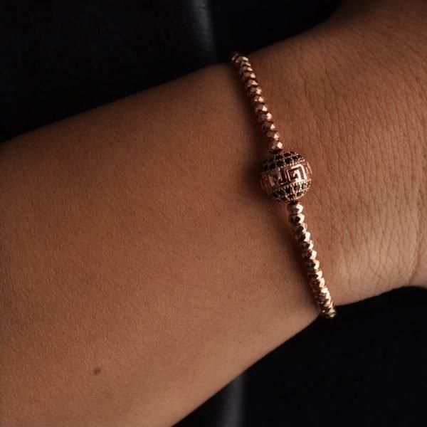 Donatella Bracelet: Rose Gold Beaded Bracelet with Pavé Crystal Bead
