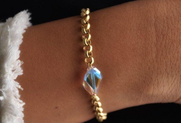 Emmanuella Bracelet: 14K Gold Plated Chain with Aurora Borealis Swarovski Crystal