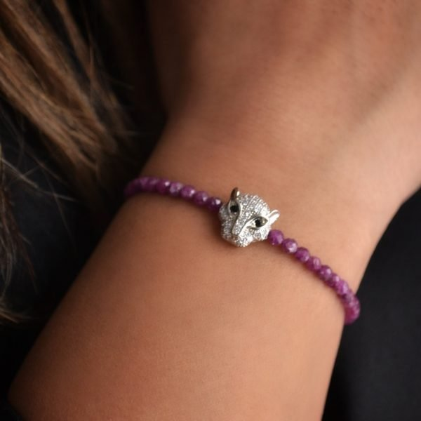 Gwyneth Bracelet: Vivid Faceted Ruby Stones with Faceted Leopard