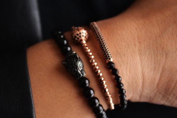 Ignatius Bracelet: Round Onyx with Black Pavé Leopard