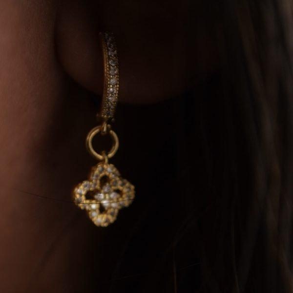 Natalia 14K Gold Pavé Earring