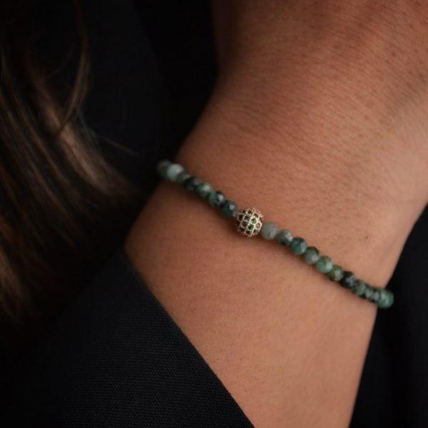 Ophelia Bracelet: Stunning Faceted Emerald Stones
