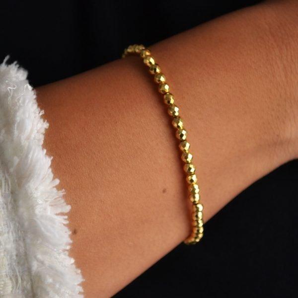 Vivienne Bracelet: Bright Gold Faceted Hematite Beads